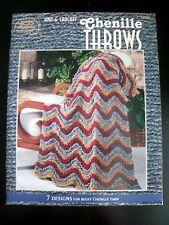 Knit & Crochet Chenille Throws Afghans #1269 American School Needlework Pattern