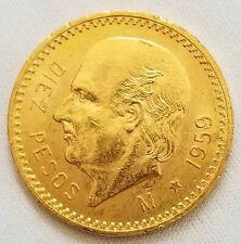 1959 M Gold Coin Mexico 10 Diez Pesos Estados Unidos Mexicanos