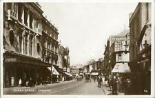 REAL PHOTOGRAPHIC POSTCARD OF QUEEN STREET, CARDIFF, GLAMORGAN, WALES
