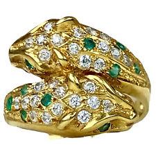 18K Yellow Gold Panther Head Diamond Emerald Cat Animal Wrap Ring Sculpture 5.25