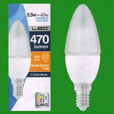 1x 5.5W LED Candle Cool White 4000K Light Bulbs SES E14 Instant On Lamps Globes