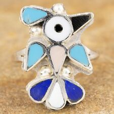 Native American Sterling Silver Zuni Bird Inlay Ring Size 8.25 Signed PY