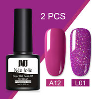 NEE JOLIE 2 Bottles Set Glitter UV Gel Nail Polish Soak Off Nail Gel Varnish 8ml