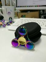 Rainbow UFO Tri-Spinner W/ Case Figet Spinners Hand Desk Focus Handmade Toy ADHD