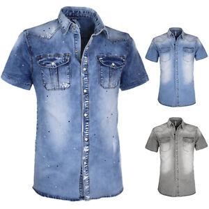 Camicia di Jeans Uomo Cotone Elasticizzata Mezza Manica Corta Slim Fit VEQUE
