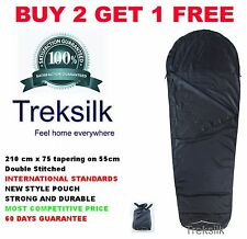 Navy Blue Single MUMMY Silk Liner Sleeping Bag Sleep Sack  Hostel Sheet Backpack