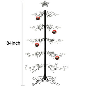 """Metal Ornaments Display Tree Stand Christmas Wrought Iron Trees 174 Hook 84""""H"""