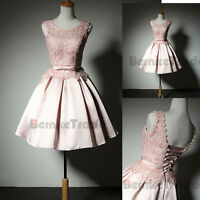 Pink Lace Short Homecoming Cocktail Dress Prom Graduation Bridesmaid Party Gown