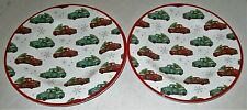 "Christmas  100% Melamine Plates VINTAGE TRUCKS DELIVERING TREES  8.50"" Set of 2"