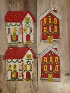 4 Vintage Christmas Holiday Decor off on Wall stitch Felt Sequin