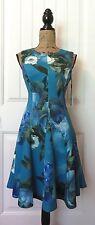 CALVIN KLEIN Fit & Flare Dress 6 Women Blue White Green Floral Scuba Knit $134