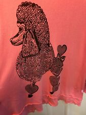 206. Lauren Moshi Beverly Hills French Poodle Pink Top Tunic L Dog