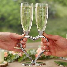 """His & Hers Connected Hearts Personalized Wedding Flute Set 6oz glass 10.5""""H"""