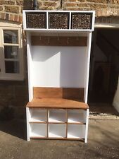 BESPOKE H195 W90 D32cm HALL COAT STAND UNIT BASKETS SHOES OAK SEAT AND COAT RACK