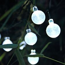30x Globe Ball Fairy Lights White LED Solar Power Hanging Garden String Lights
