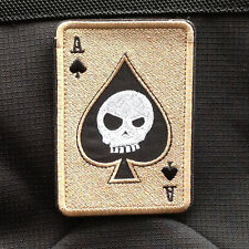 Poker Spades Aces Dead Skull A 3D U.S. Army Ops Swat Morale Badge Hook Patch #03