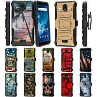 For Cricket Icon 2 U325 Rugged Armor Hybrid Kickstand Holster Belt Clip Case