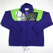 Spyder Lotus Act Mens Size Large Full Zip Purple Neon Green Windbreaker Jacket