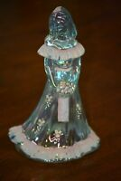 Fenton Bridesmaid Doll Light Blue Glass Hand Painted White Flowers Textured Pink
