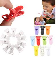 10x Schnullerhalte Clip on Baby Schnullerkette Schnuller Babyclip T-Clip Kits #