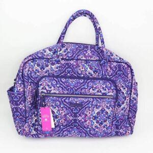 Vera Bradley Womens Iconic Weekender Travel Bag Purple Floral Dual Handle New