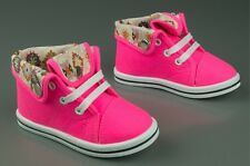 Girls canvas shoes high ankle HI TOP trainers baby toddler size 3.5 - 11UK KIDS