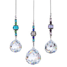 Set 3 Crystal Suncatcher Ball Drop Pendants Decoration Hanging for Home Window