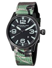 Stuhrling Original Black Dial Camouflage Fabric Strap Mens Watch 141C.01