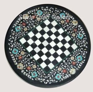 """18"""" Marble Chess Table Top Inlay Handicraft Work Home Decor and Gifts"""