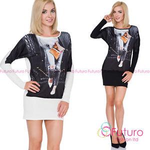 Women's Mini Dress Long Sleeve Boat Neck Printed Tunic One Size  8-14 UK FT2517