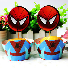 24pcs Spiderman Cupcake Cake 12 Toppers 12 Wraper Decoration Kids Birthday Party