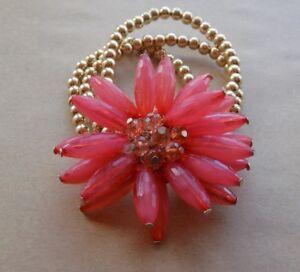 Costume Jewellery Jewelry Hair Tie Gold Beads Pink Flower