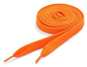 Flat Coloured Shoelaces Skate Shoe Laces Trainers Boots Colour Neon Orange