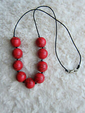 "18 mm Red Turquoise Bead Necklace - 24.5"" Long."