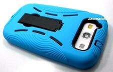for samsung galaxy S3 soft hard case built in stand blue 2 layer / Siii / sIII