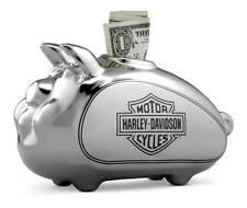 NEW HARLEY DAVIDSON CHROME CERAMIC PIGGY BANK WITH BAR & SHIELD LOGO