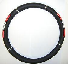 Coprivolante nero con inserti rosso e inox per volanti con diam.37>39 cm