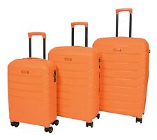 Ultra Strong Hard Shell 4 Wheel Suitcase Expandable Luggage Cabin Bag Orange Full Set 3 Pcs