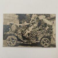Antique RPPC Real Photograph Postcard Motor Car Parade Flower Portland Oregon OR
