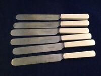 "Antique1890's WALKER & HALL Steel Blade Faux Bone 9 1/2"" Dinner Knives"