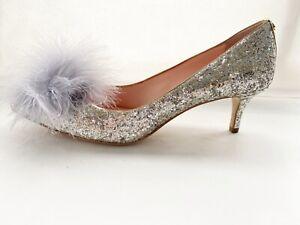 "Kate Spade  ""Park""  Silver Glitter Feather Pom Pom Mid Heel Court Shoe UK 6.5"