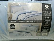 Style Decor 6 Piece Reversible Comforter Set, KING - Powder Blue & Gray Floral