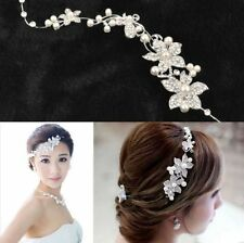 White Pearls Clear Crystal Rhinestone Bridal Floral Tiara Hair