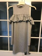 New Look Size 6 Grey Dress Cut Shoulder Long Sleeved Thick Short Ladies