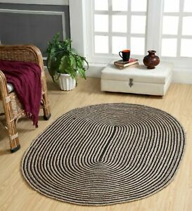 Area Rug Oval Hand Braided Jute & Natural Cotton 3x5 Feet Living Floor Mat Rug