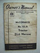 Original International 23 A Tractor Disk Harrow Owners Parts Manual 1952