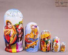 Russian traditions wooden nesting dolls matryoshka hand-painted 16cm 5pcs