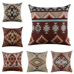 Retro Ethnic Pillow Covers Geometric Tribal Pattern Print Cushion Cover Bohemian