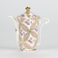 "Antique Chintz Style White Pink Rose Miniature Mini Teapot porcelain 4"" 10cm"