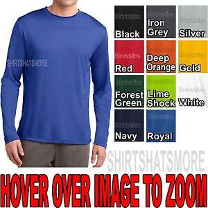 Mens Long Sleeve T-shirt Dry Zone Performance Moisture Wicking Gym XS-2X, 3X, 4X